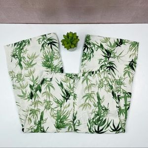 J. Jill Green White Tropical Leaves Pants Small